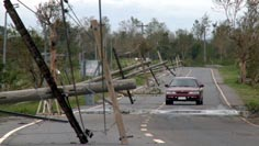 Power lines flattened by severe winds of typhoon Megi