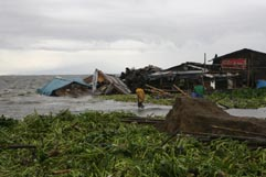 Slums on the shore of Laguna de Bay innundated by storm surge