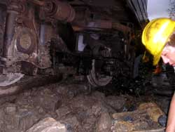 This train was derailed after it hit a mudslide near Hualien, Taiwan