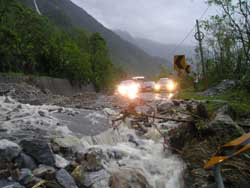 The main Taipei - Hualien highway blocked by a landslide