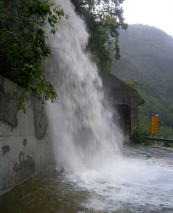 Flash floods tear through Taroko Gorge after typhoon Talim made landfall
