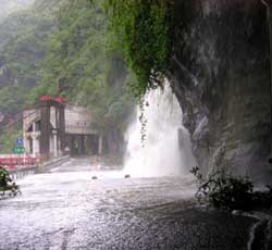 The road up Taroko Gorge awash with flash floods