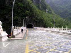 This bridge turned into an aquaduct in the flooded Taroko Gorge
