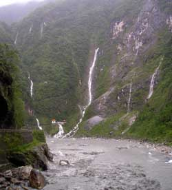 Waterfalls stream off the mountain sides into the Taroko Gorge